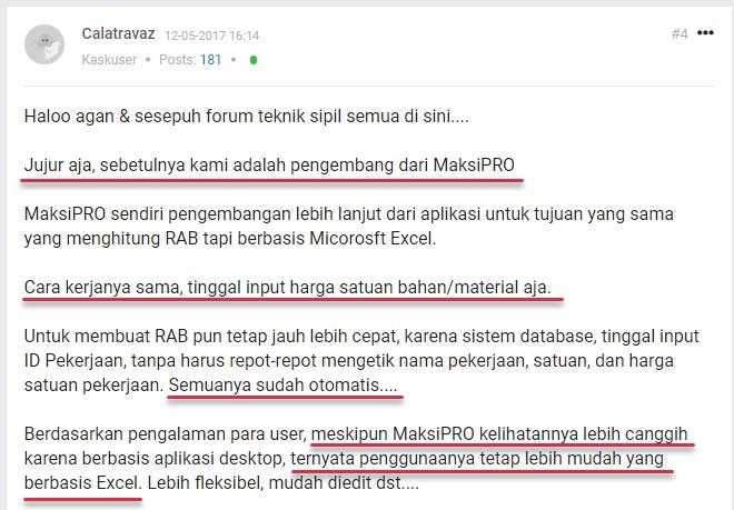 Pernyataan Pengembang MAKSIPro