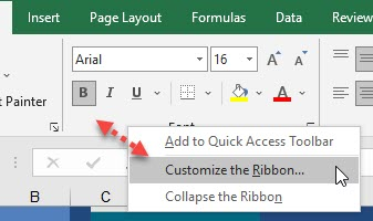 Excel Customize the Ribbon