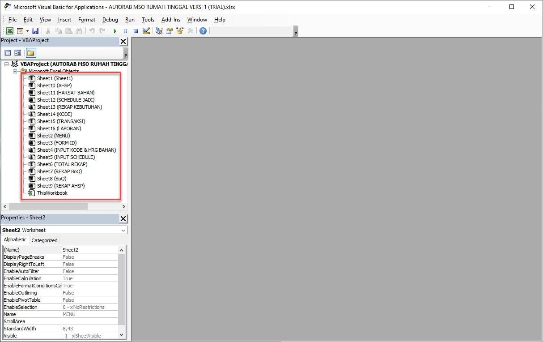 Visual Basic Pilih Sheet