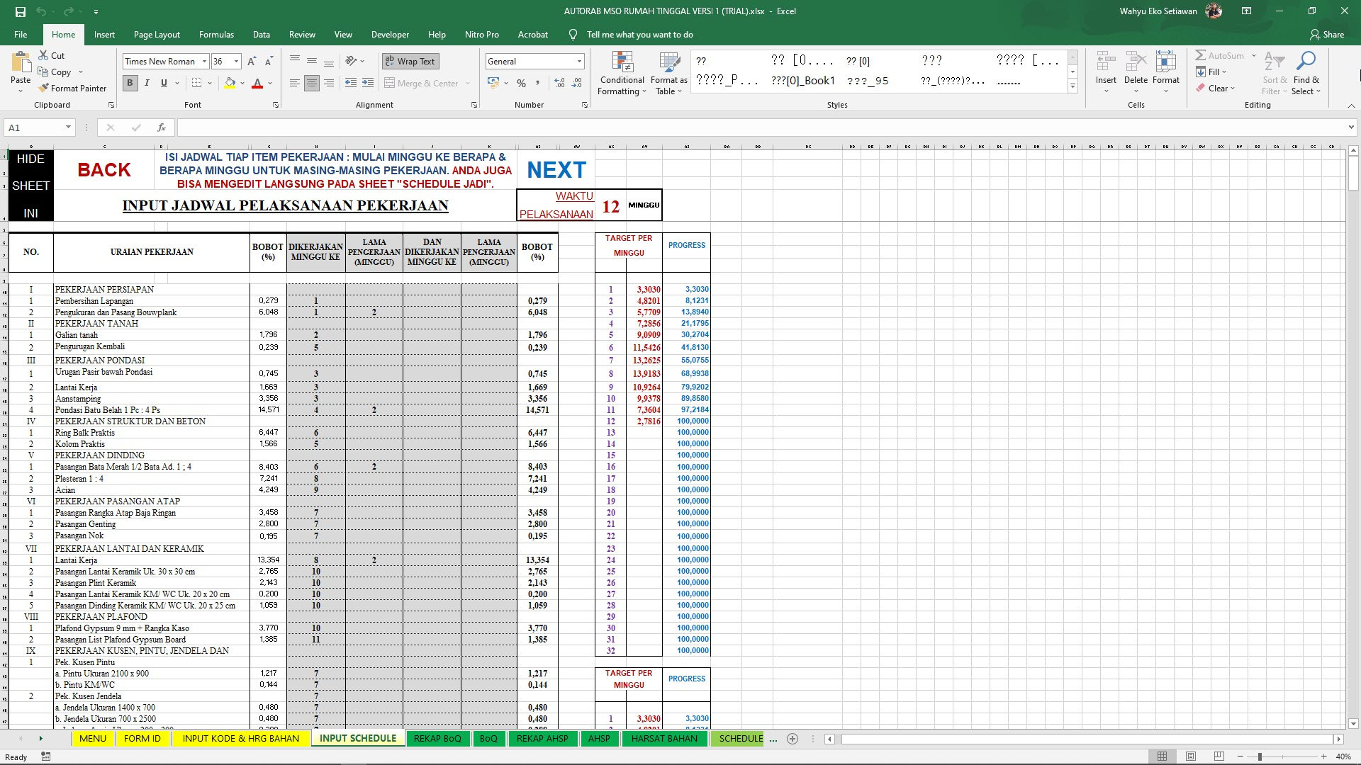 RAB MSO Input Schedule